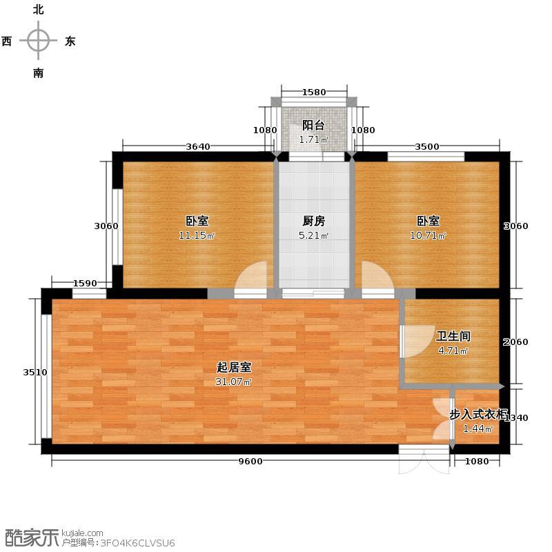柏悦星城93.06㎡3#-2单元-4门2室使用面积6204户型2室2厅1卫
