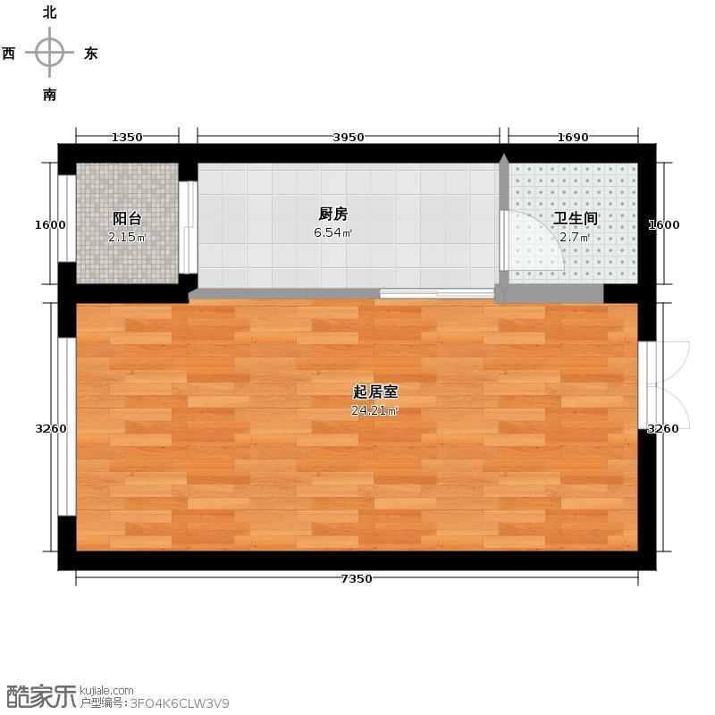 柏悦星城47.21㎡5#-1单元-2门2室户型2室2厅1卫