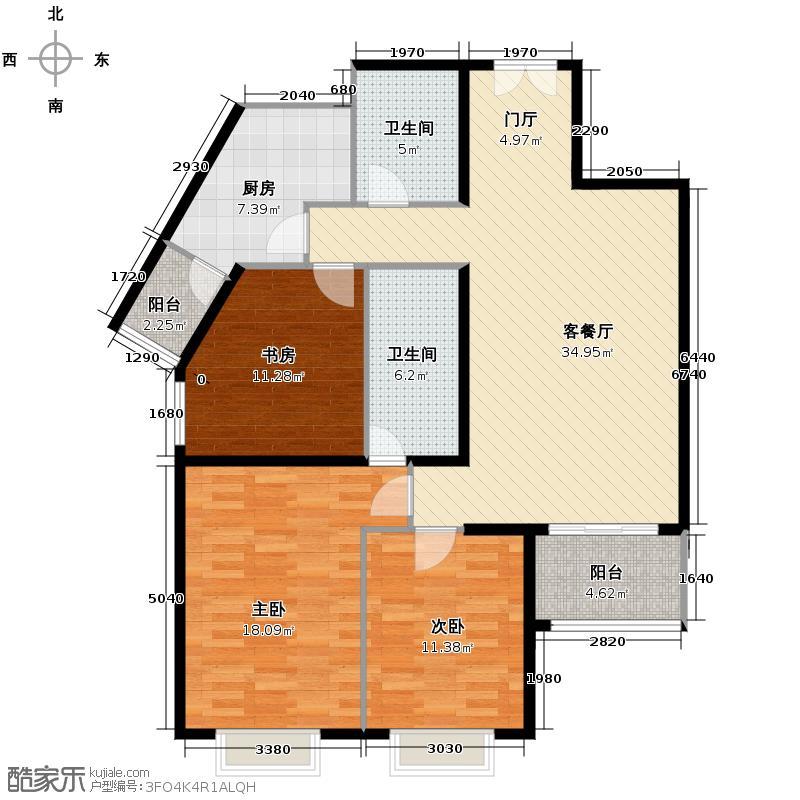 世纪东方城132.68㎡9#楼1单元A户型3室1厅2卫1厨