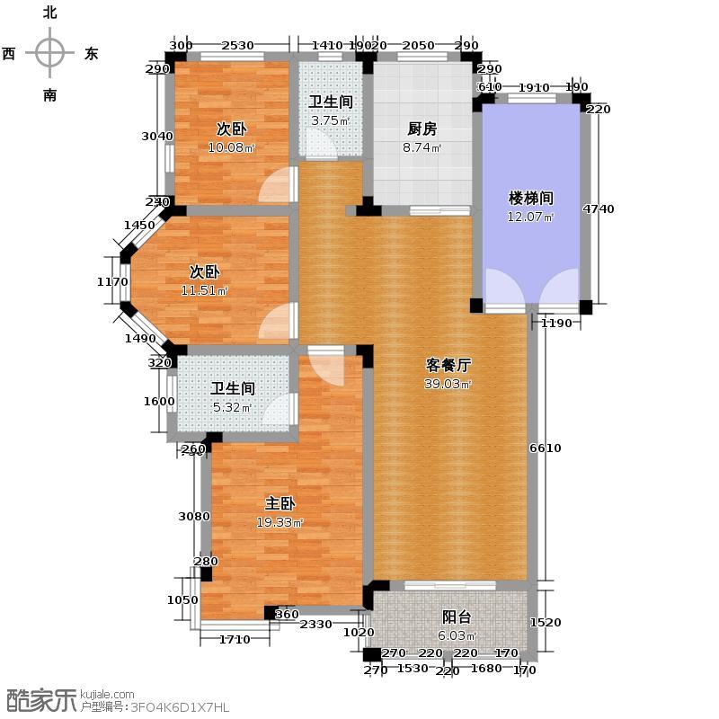皇马花园132.17㎡D1面积约12398/12468/12447/户型3室1厅2卫1厨