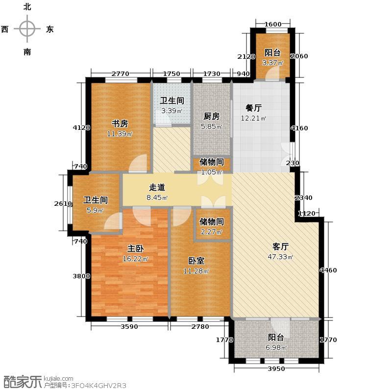 群力玫瑰湾99.94㎡D14-D15户型2室1厅2卫1厨