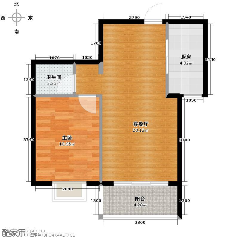 琼海海桂坊62.09㎡D#楼D2、D3户型1室1厅1卫1厨