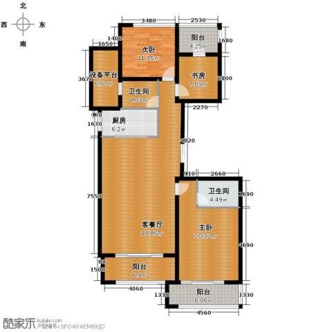 绿城玉兰花园3室1厅2卫1厨145.00㎡户型图