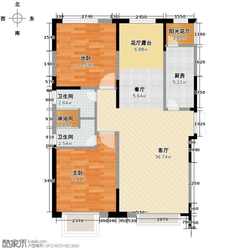 西湖一号105.47㎡A户型2室3厅2卫