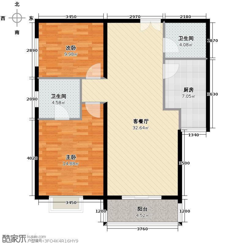 世纪东方城109.69㎡10号楼B(2居)户型2室1厅2卫1厨