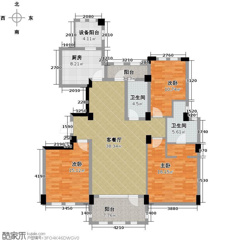 汇锦城145.00㎡绿城新绿园户型3室1厅2卫1厨