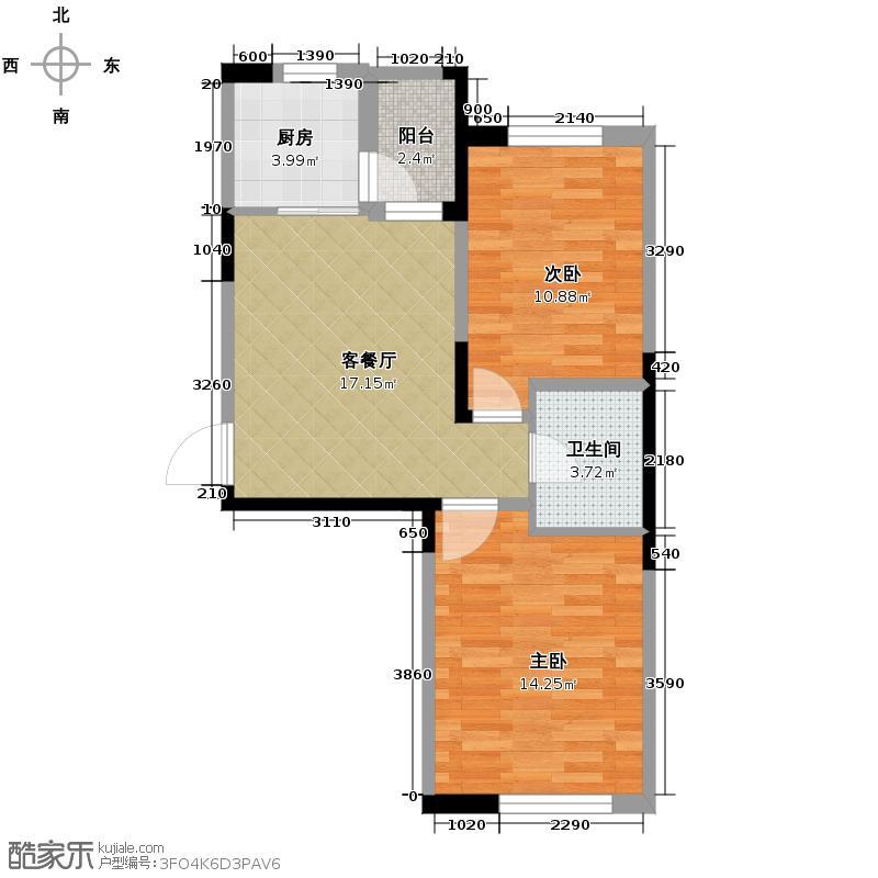 首地首城74.13㎡二期C户型2室1厅1卫