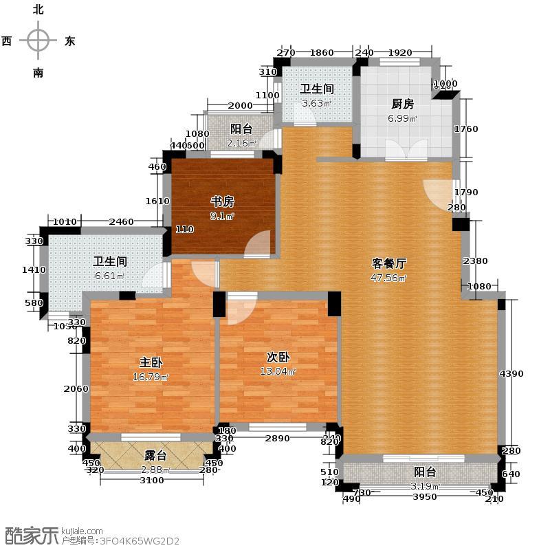 中旅国际小镇德邑129.00㎡西洋房户型3室1厅2卫1厨
