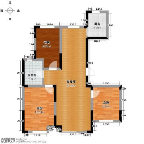 力旺美林3室1厅1卫1厨106.00㎡户型图