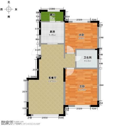 绿地国际花都2室1厅1卫1厨82.00㎡户型图