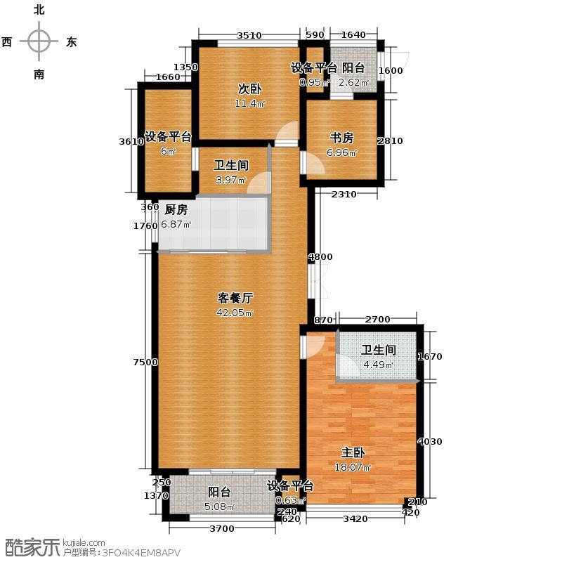 绿城玉兰花园138.00㎡F2户型3室1厅2卫1厨