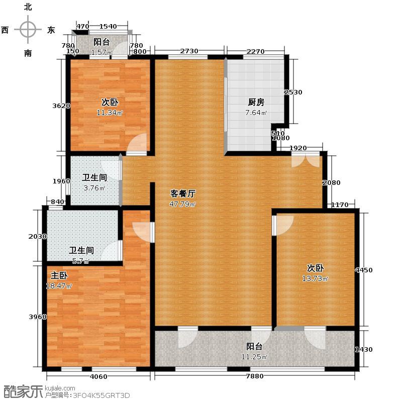 领秀新硅谷153.00㎡阔府3#-11#三层户型3室1厅2卫1厨