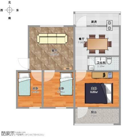 丰润城西小区3室2厅1卫1厨64.00㎡户型图