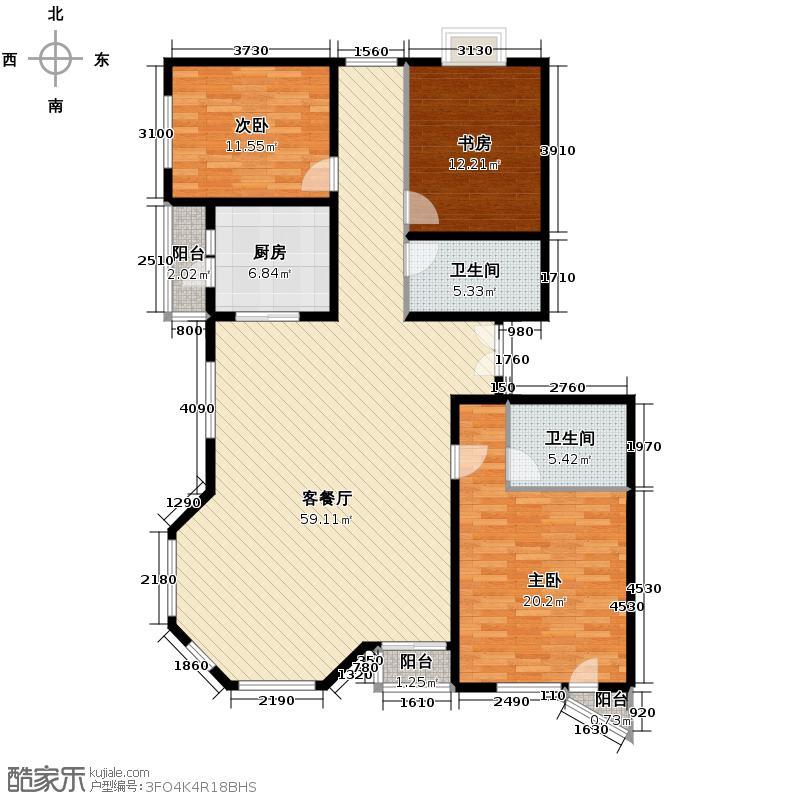 世纪东方城165.58㎡5#楼5单元B户型3室1厅2卫1厨