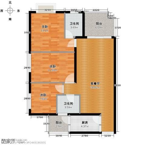 花果园3室1厅2卫1厨112.00㎡户型图