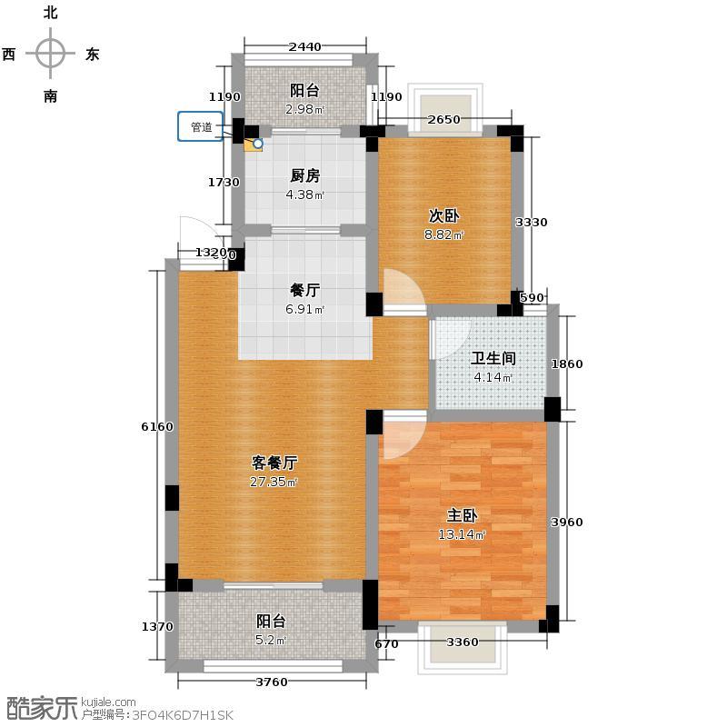 博威香槟小镇75.00㎡二阳台8132M2户型2室1厅1卫1厨