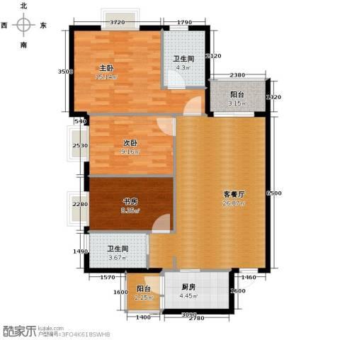 花果园3室1厅2卫1厨99.00㎡户型图