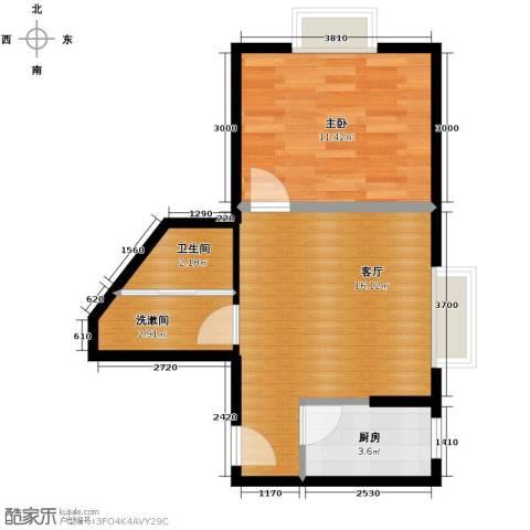 天朗御湖1室1厅1卫1厨54.00㎡户型图