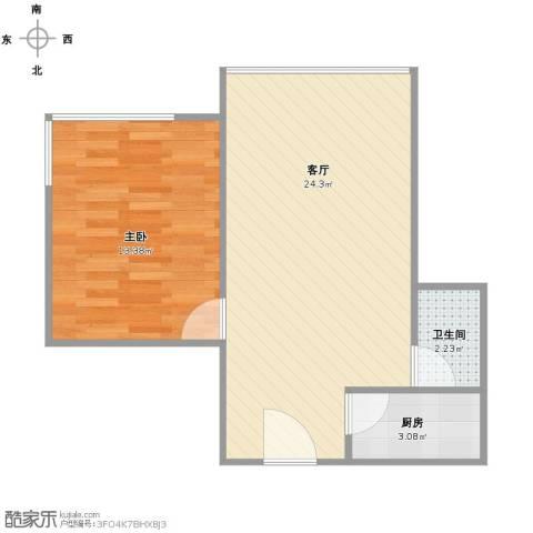 日月光中心1室1厅1卫1厨58.00㎡户型图