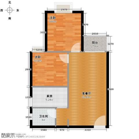 花果园2室1厅1卫1厨78.00㎡户型图
