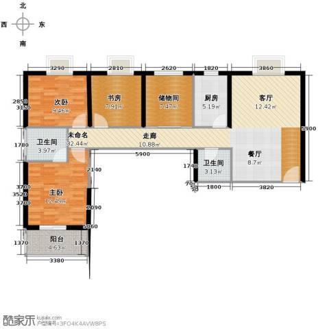 天朗御湖3室0厅2卫1厨112.00㎡户型图