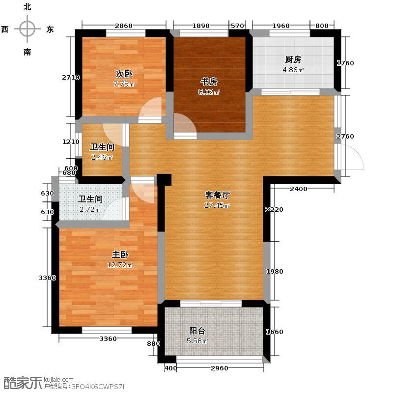 圣联梦溪小镇104.00㎡户型3室2厅2卫