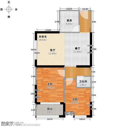 天朗御湖2室0厅1卫1厨83.00㎡户型图