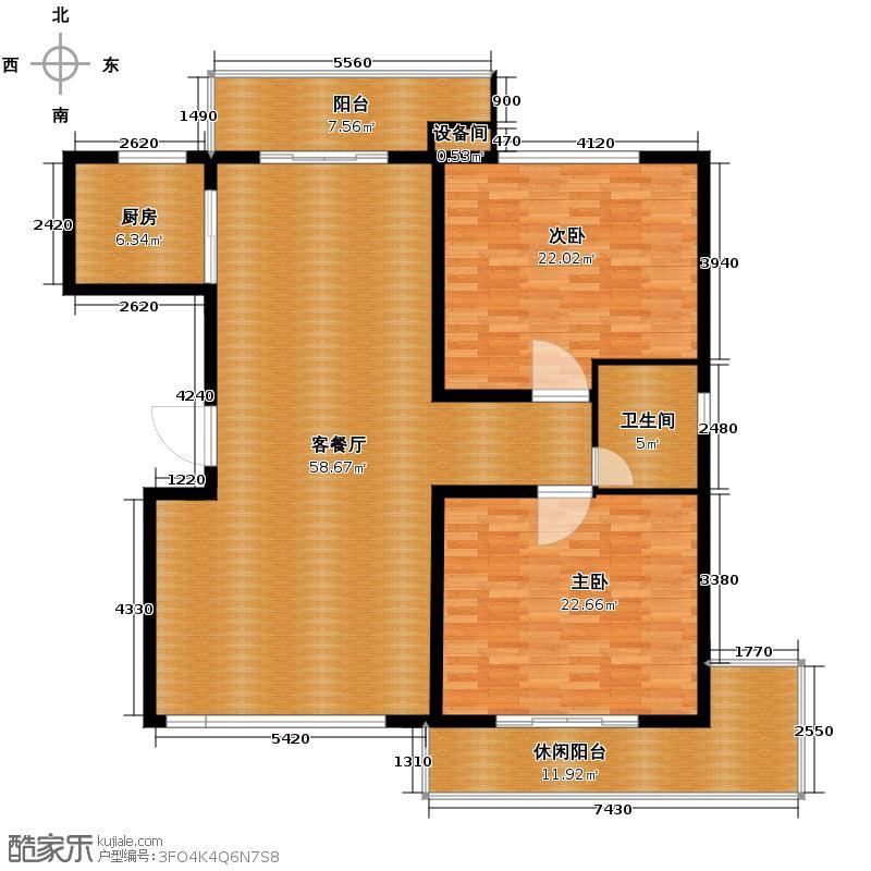 景园盛世华都155.37㎡高层A户型2室1厅1卫1厨