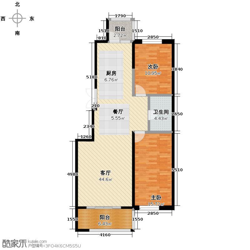 好民居滨江新城73.29㎡二期A12座户型2室2厅1卫