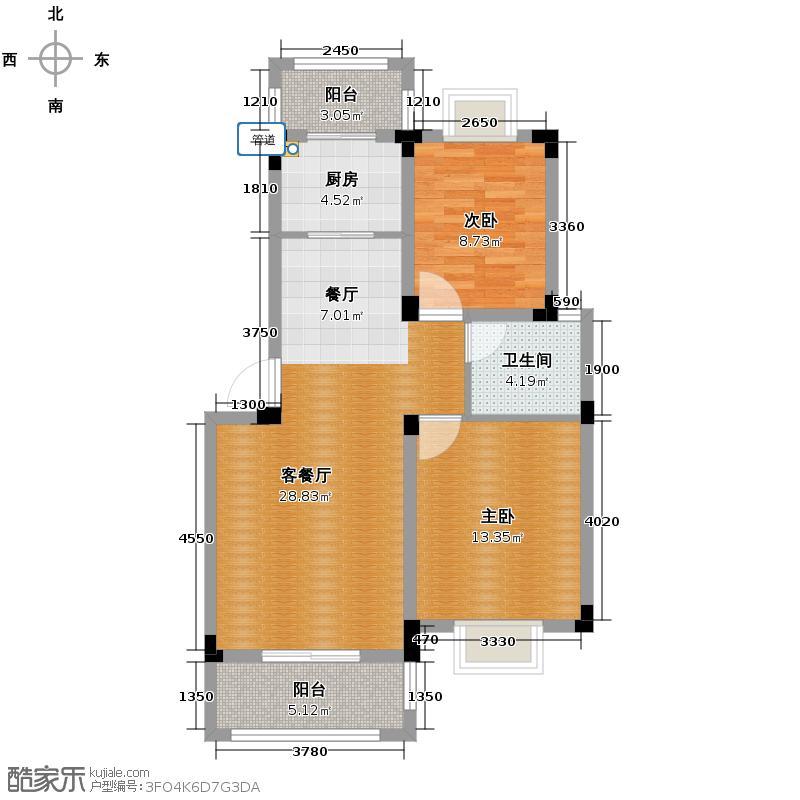 博威香槟小镇85.00㎡二阳台7945M2户型2室1厅1卫1厨