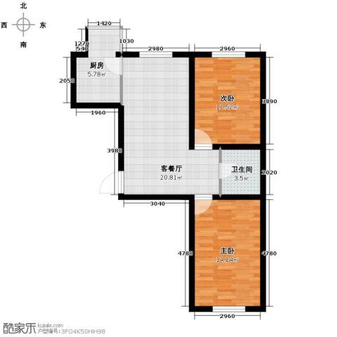 迅驰净月大学城2室1厅1卫1厨63.48㎡户型图