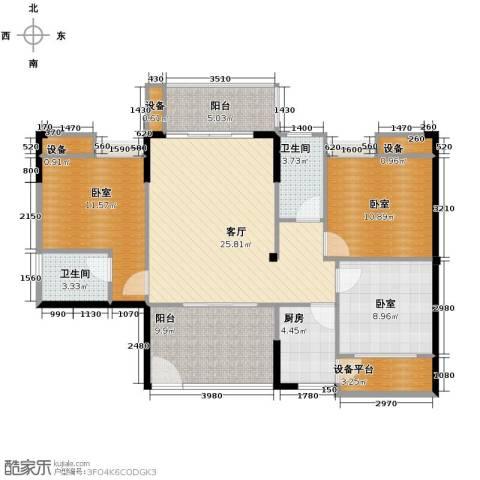 东怡水岸花园3室2厅2卫0厨110.00㎡户型图