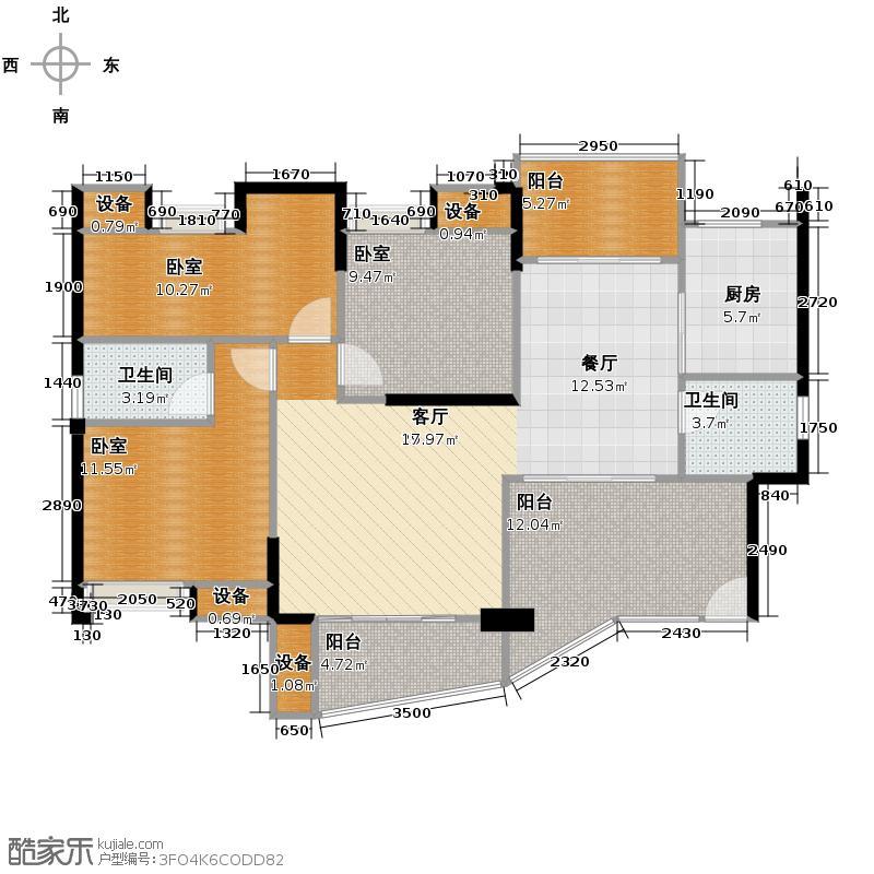 东怡水岸花园110.00㎡户型3室2厅2卫