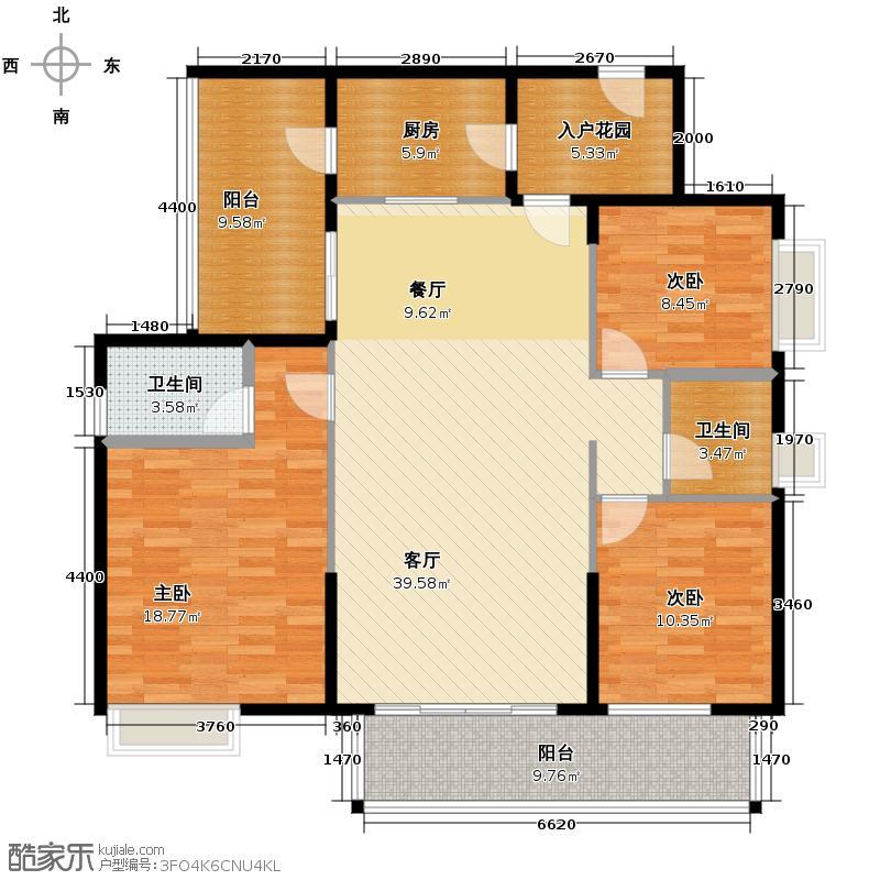 北江明珠137.00㎡8座01单位户型3室2厅2卫