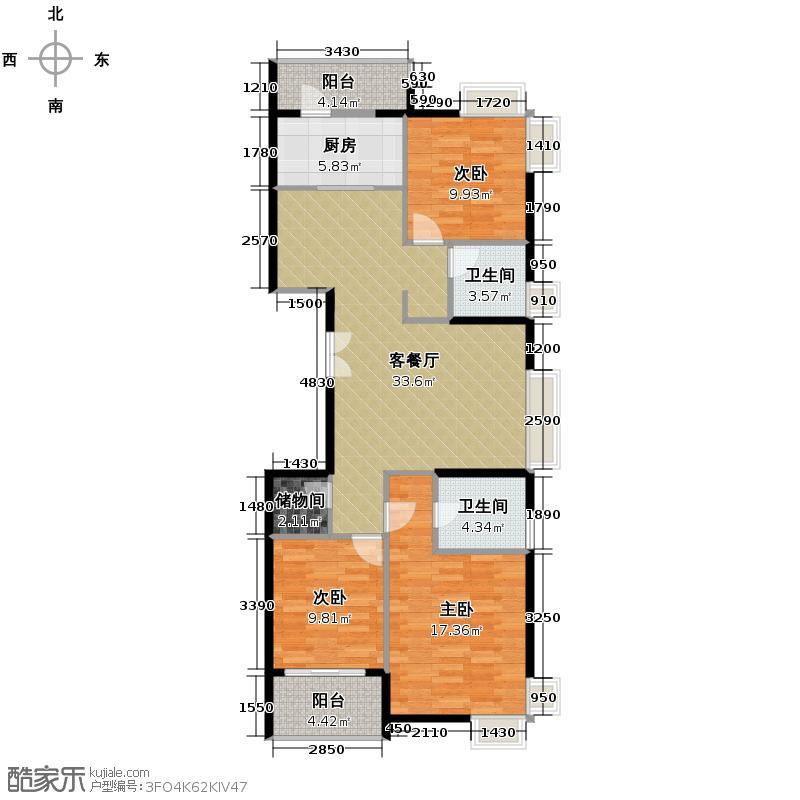 兰庭国际125.03㎡户型3室1厅2卫1厨