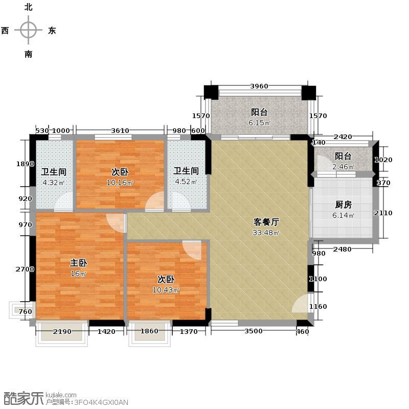 上林苑114.36㎡4栋2-18层01单元3室户型3室1厅2卫1厨