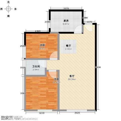北纬40度2室1厅1卫1厨82.00㎡户型图