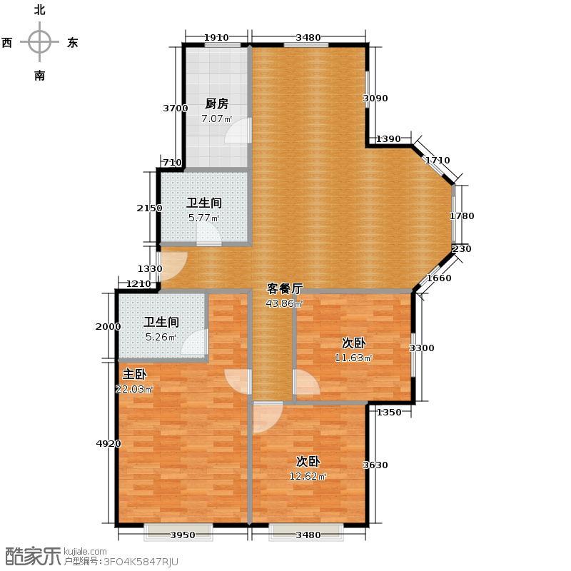 保利花园三期115.42㎡户型3室1厅2卫1厨