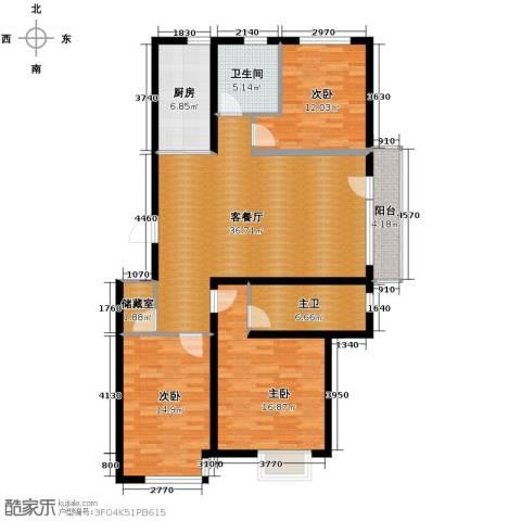 荣旺天下3室1厅1卫1厨132.00㎡户型图
