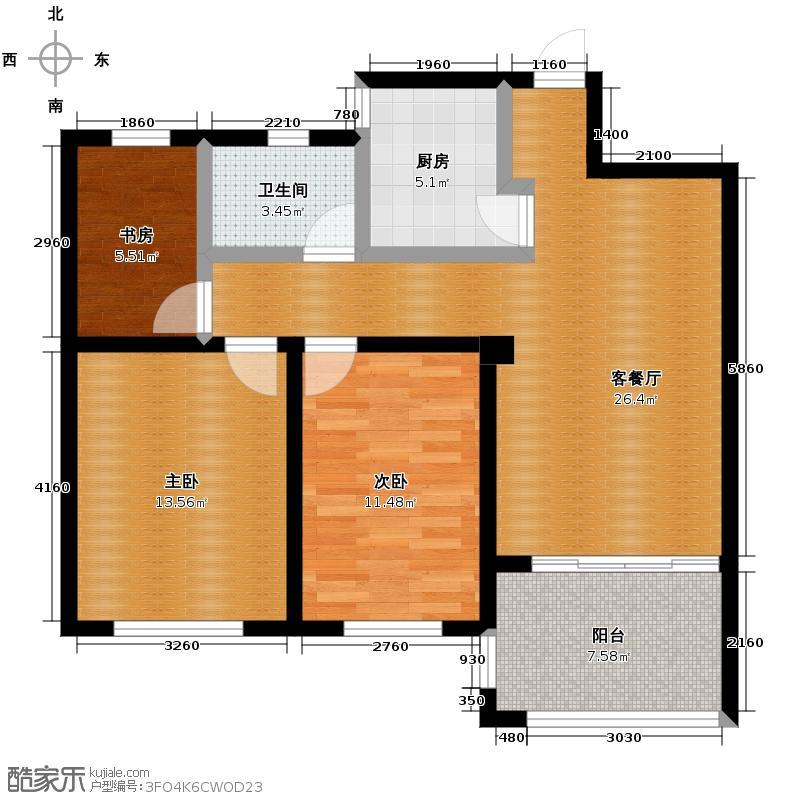 圣联梦溪小镇97.00㎡6#020户型3室2厅1卫