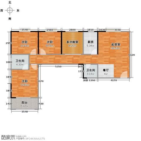 天朗御湖3室0厅2卫1厨113.00㎡户型图