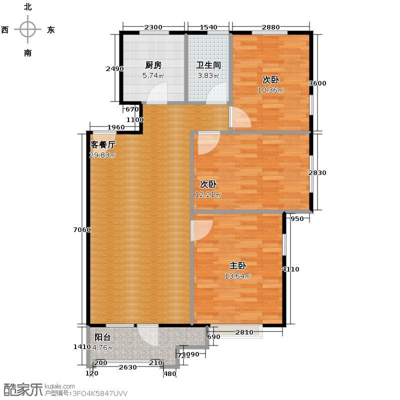 保利花园三期86.37㎡户型3室1厅1卫1厨