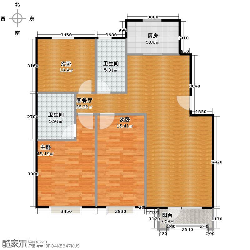 保利花园三期107.34㎡户型3室1厅2卫1厨