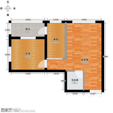 柏悦星城1室1厅1卫0厨63.00㎡户型图