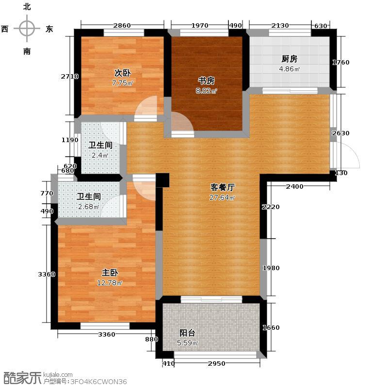 圣联梦溪小镇104.00㎡2#0户型3室2厅2卫