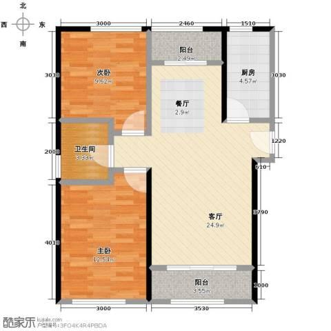 北纬40度2室1厅1卫1厨86.00㎡户型图