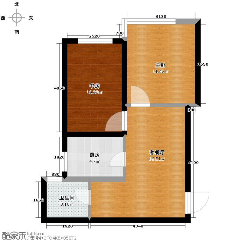 泰莱16区52.92㎡户型2室1厅1卫1厨