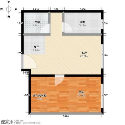 北纬40度1室1厅1卫1厨67.00㎡户型图