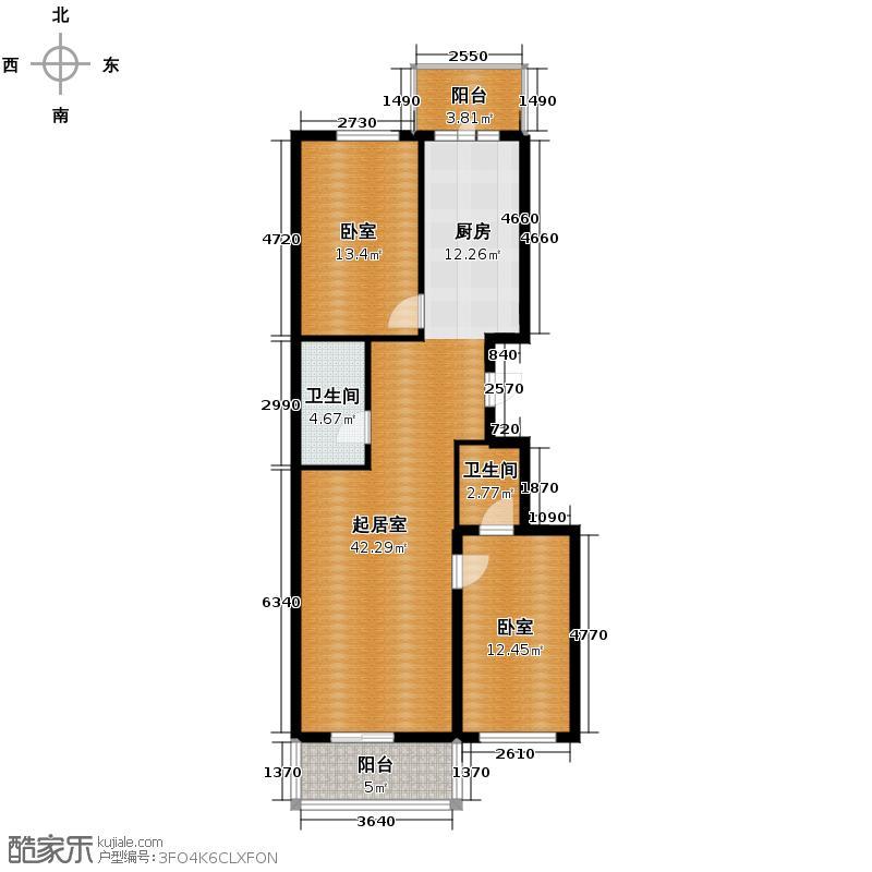 丽兹江畔81.70㎡户型2室1厅2卫