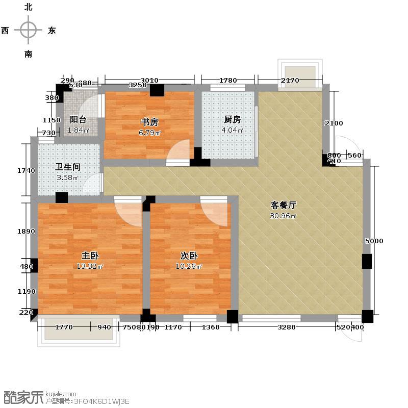 皇马花园102.00㎡H5户型3室1厅1卫1厨